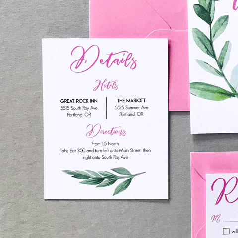 Details Insert Card - Miranda Suite - Pink and Watercolor Green Leaf Wedding Invitations