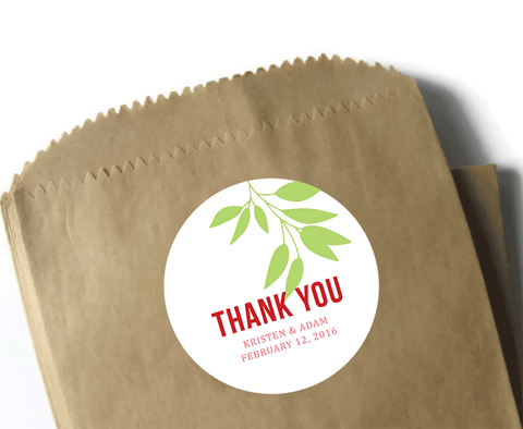 Custom Wedding Stickers - Round Thank You Stickers - 3 inch matte labels - Modern leaf design in white, red, and green
