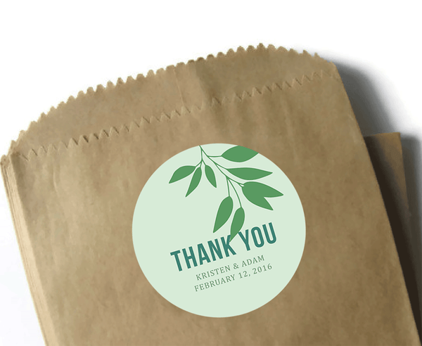 "3"" Round Wedding Thank You Stickers - Custom Thank You Stickers - 3 inch matte labels - Modern leaf design in shades of green"