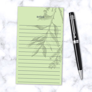 Leafy Green Botanical Magnetic Note Pad 100 Lined Pages