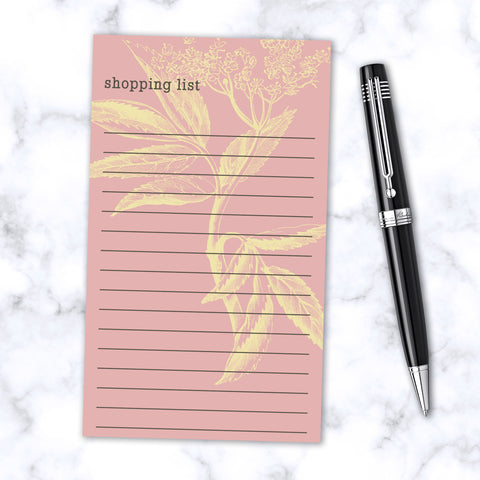 Magnetic Note Pad 100 Lined Pages - Botanical Print - Salmon Pink and Yellow