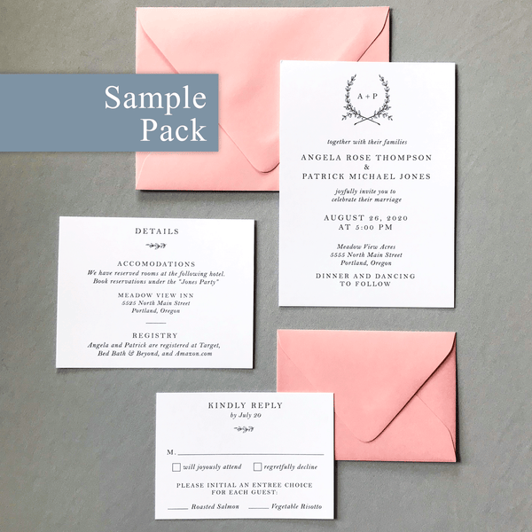 Invitation Sample Pack Close up with Details Card and RSVP in white and Candy Pink - The Ophelia Suite - Minimal Floral Monogram Wedding Invitation Collection