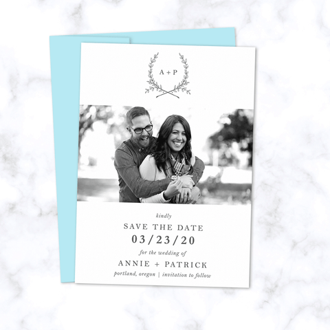 Save the Date Photo Card with Initials and Hand Drawn Floral Wreath - The Ophelia Suite Wedding Collection - Front with Light Blue Envelope