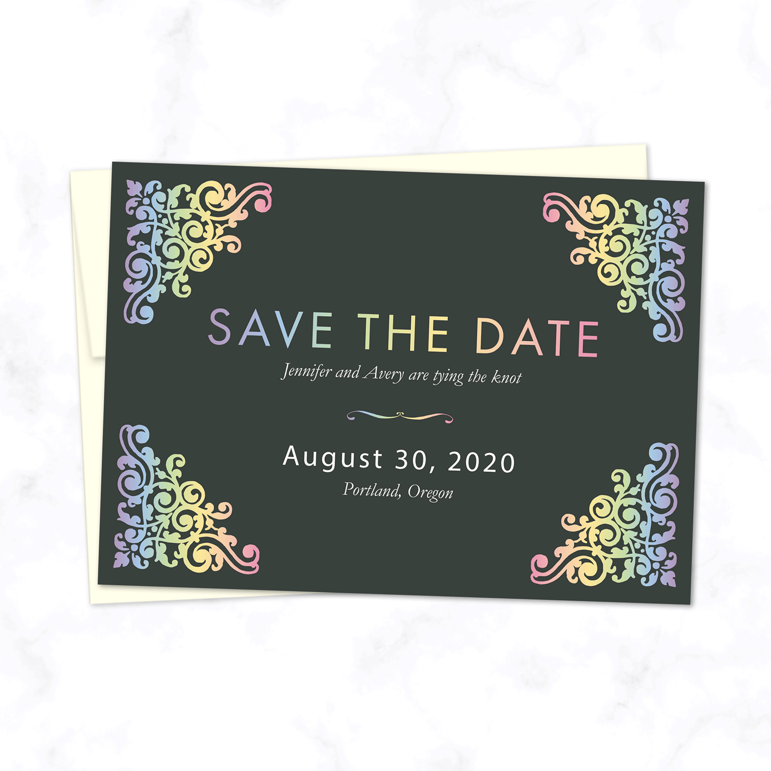 Pastel Rainbow Wedding Save the Date Card with Cream Envelope Included