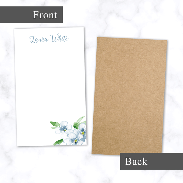 Personalized Note Pad with Hand Painted Blue Watercolor Flower and Blank White Space - Front and Back View, Chipboard Backing, Shown with No Magnets - Customize with Name at Top in Cursive Script Font