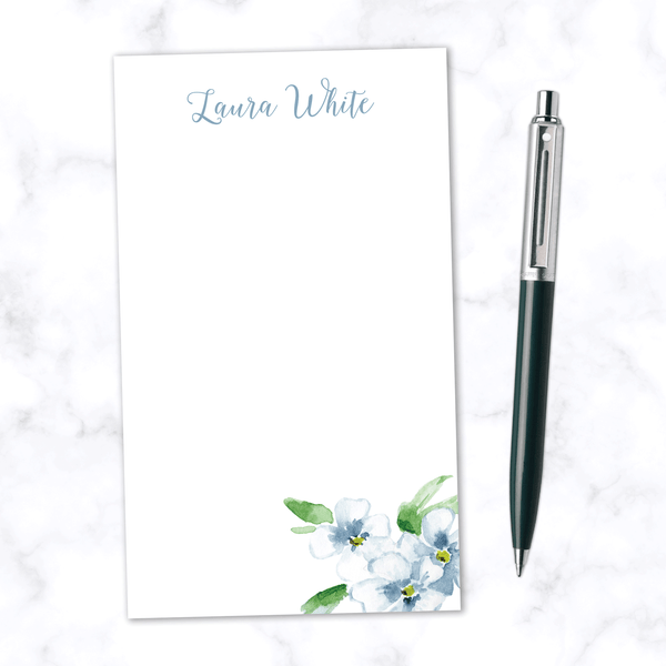 Personalized Note Pad with Hand Painted Blue Watercolor Flower and Blank White Space - Customize with Name at Top in Cursive Script Font - Front View