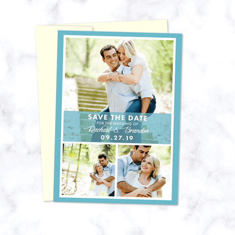 Save the Date Wedding Card with Three 3 Engagement Photos in Modern Style Grid any Custom Background Color - Shown here in Light Blue
