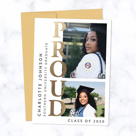 Proud Grad Gold Foil Pressed Graduation Photo Cards with two photo frames with envelopes included