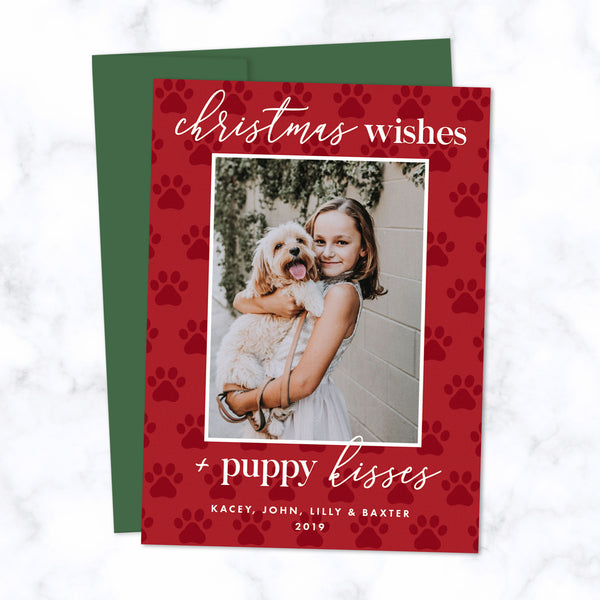 Christmas Photo Cards with Pet Photo - Christmas Wishes and Puppy Kisses - Envelopes Included