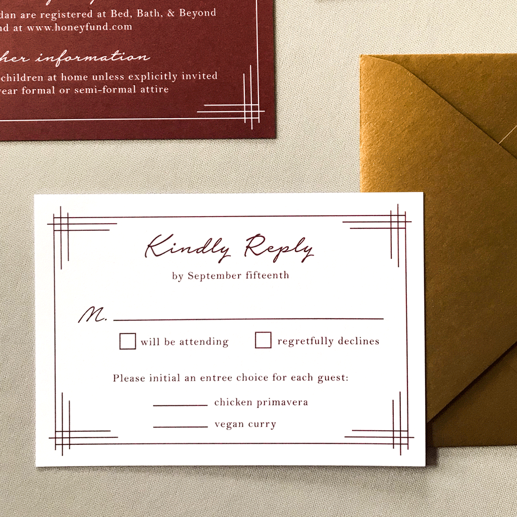 RSVP Card and Envelope - The Titania Suite - Classic Lined Border Wedding Invitation Suite by Wonderment Paper Co
