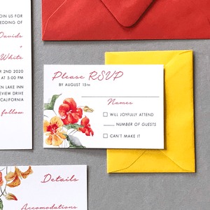 RSVP Card with Envelope - The Bianca Suite - Burnt Orange and Yellow Watercolor Floral Wedding Suite