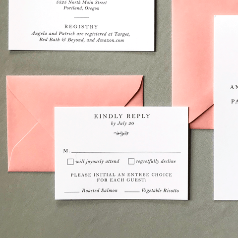 RSVP Card - The Ophelia Suite - Minimal Floral Monogram Wedding Invitation Collection