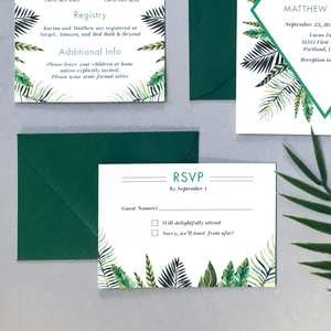 RSVP Card and Envelope - The Callisto Suite - Tropical Palm Leaves Wedding Invitation Suite