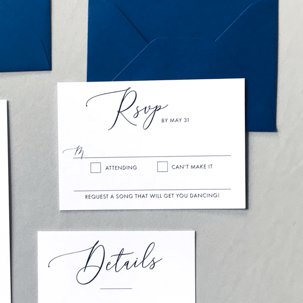RSVP Card and Envelope - The Cressida Suite - Minimal Large Script Wedding Collection