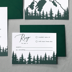 RSVP Card - The Aurora Suite - Mountains in the Woods Wedding Theme