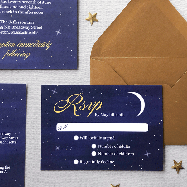RSVP Card with crescent moon and Envelope - The Luna Suite - Navy Blue and Gold Shimmer Wedding Invitation Samples