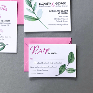 RSVP Cards and Envelopes - Miranda Suite - Pink and Watercolor Green Leaf Wedding Suite