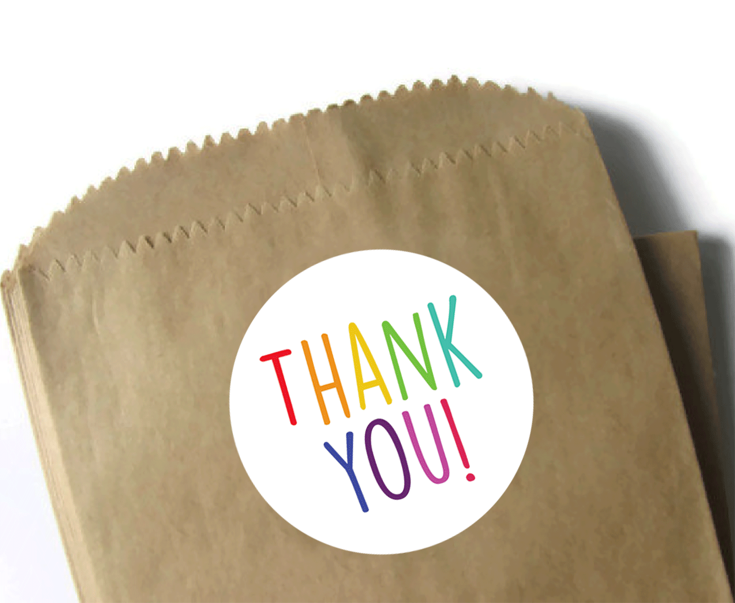 "3 Inch Round Thank You Stickers - Rainbow Thank You Stickers - 3"" Round Matte Label Paper - 6 Stickers Per Sheet"
