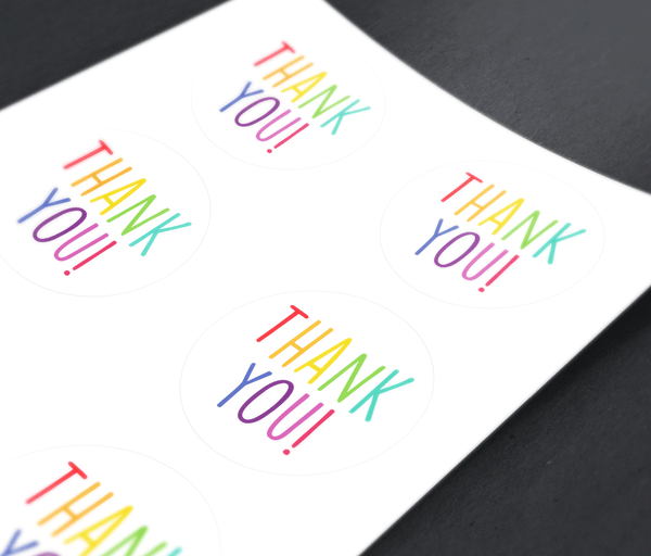 Colorful Rainbow Thank You Stickers - 3 Inch Round Thank You Stickers Printed 6 Labels Per Sheet