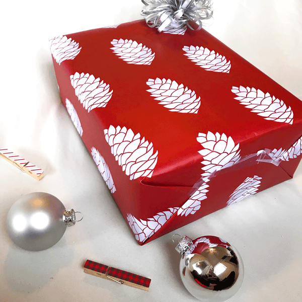 Red Pine Cone Holiday Gift Wrap - Designer Wrapping Paper Sheets - Wrapped Gift with Bow