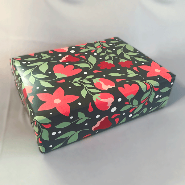 Red Poinsettia Floral Print Holiday Gift Wrap - Designer Wrapping Paper Sheets - Wrapped Large Gift Box