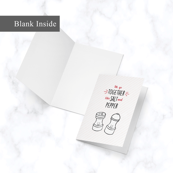 Salt and Pepper Card - Inside View - Blank White Inside - Illustrated A2 Greeting Card for Valentine's Day or Anniversary