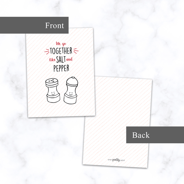 Salt and Pepper Card - Front and Back View - Illustrated A2 Greeting Card for Valentine's Day or Anniversary