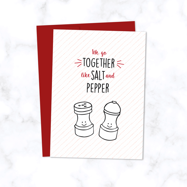 Salt and Pepper Card - Illustrated Valentine's Card - Anniversary Card - Birthday Card - With Salt and Pepper Shakers - Front of Card with Red Envelope Included