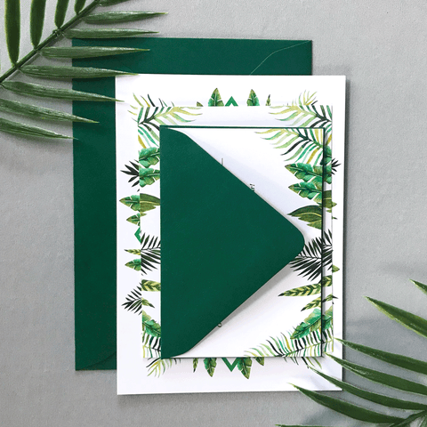 Wedding Sample Pack - The Callisto Suite - Tropical Palm Leaves Wedding Theme with Watercolor Tropical Leaves
