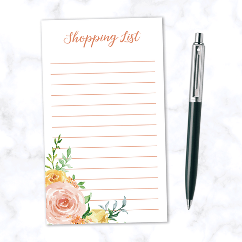 Shopping List Note Pad with 100 Lined Pages and Pink and Orange Watercolor Roses and Leaves - Front View