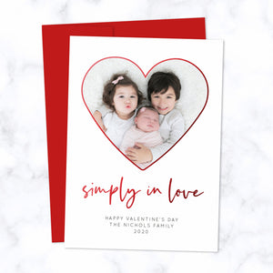 Simply in Love Valentine's Day Photo Card with Heart Shaped Photo Frame, Metallic Red Foil and Modern Script font, includes bright red envelope