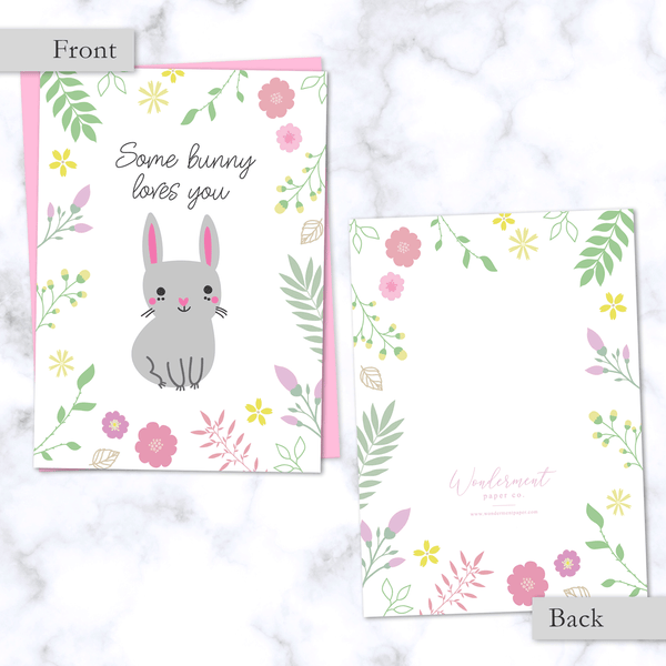 Some Bunny Loves You Floral Greeting Card_Front and Back Image