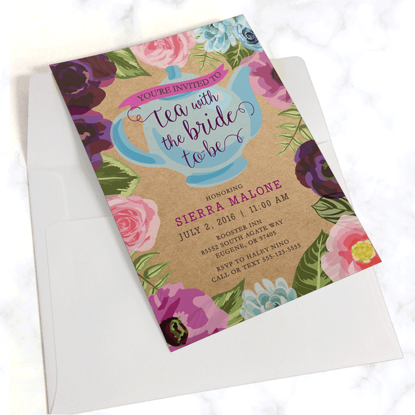 Tea Party Bridal Shower Invitation with White Envelope - Pink and Purple Floral Border with Blue Teapot and Modern Typography - Printed on kraft paper in rustic style