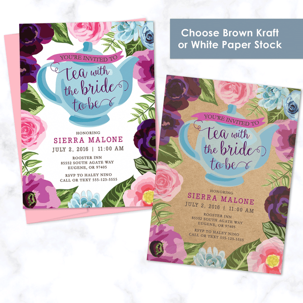 Floral Tea Party Bridal Shower Invitation - Choice of Two Paper Stocks - 120# Matte White Cover Stock or 110# Kraft Paper