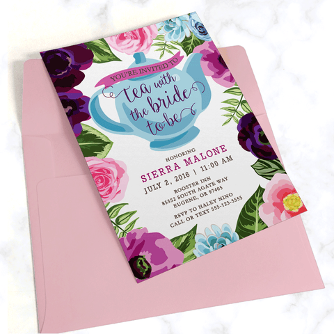 Tea Party Bridal Shower Invitation with Light Pink Envelope - Pink and Purple Floral Border with Blue Teapot and Modern Typography - Printed on White Paper Stock