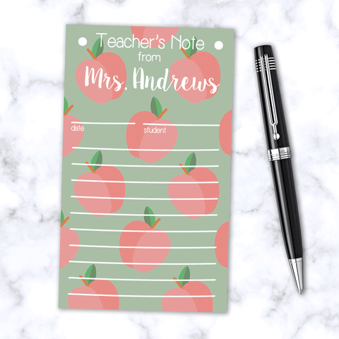 Personalized Teacher's Note Pad with Light Green and Red Apple Pattern - 100 Page Note Pad