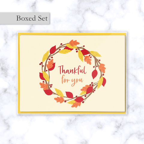 Thankful for You Fall Greeting Card Boxed Set with Wreath of Red, Orange, and Yellow Leaves - Set of 4 -Front of Card and Sunflower Yellow Envelope