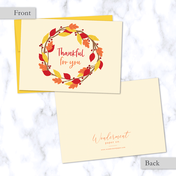 Thankful for You Fall Greeting Card with Wreath of Red, Orange, and Yellow Leaves - Front and Back of Card