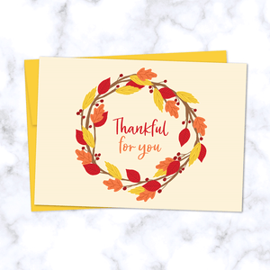 Thankful for You Fall Greeting Card with Wreath of Red, Orange, and Yellow Leaves - Front of Card and Sunflower Yellow Envelope
