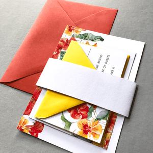 The Bianca Suite Wedding Sample Pack - Orange and Yellow Floral Wedding Invitation Suite