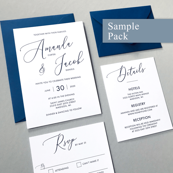 Wedding Invitation Sample Set - The Cressida Suite - Minimal Large Script Wedding Collection - Navy and White
