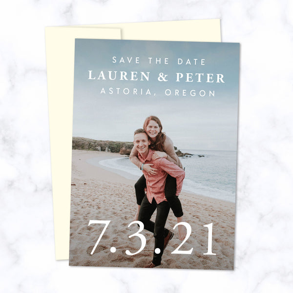Classic Type Save the Date Cards with Full Frame Photo, Extra Large Date and Minimal Modern Typography shown with Cream Envelope