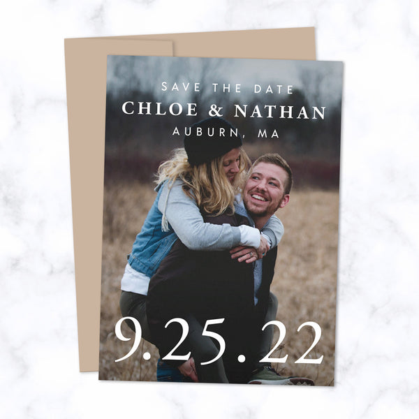 Classic Type Save the Date Cards with Full Frame Photo, Extra Large Date and Minimal Modern Typography shown with Harvest Brown Envelope