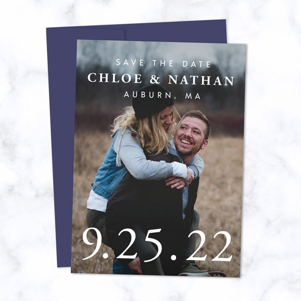 Classic Type Save the Date Cards with Full Frame Photo, Extra Large Date and Minimal Modern Typography shown with Navy Blue Envelope