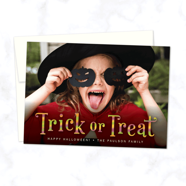 Trick or Treat Halloween Photo Card with White Envelope - Personalized A7 flat Halloween Photo Card
