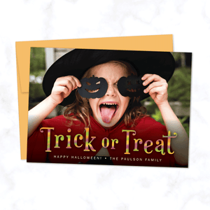 Trick or Treat Halloween Photo Card with Orange Envelope - Personalized A7 Flat Halloween Photo Card
