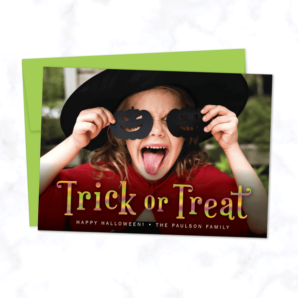 Trick or Treat Halloween Photo Card with Lime Green Envelope - Personalized A7 Flat Halloween Photo Card