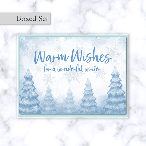 Warm Wishes Holiday Boxed Greeting Card Set with Whimsical Snowy Winter Forest Illustration - Light Blue Envelope Included
