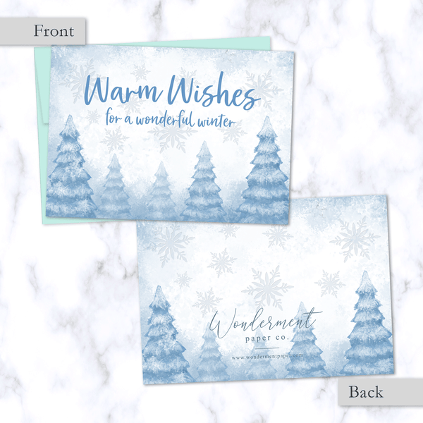 Warm Wishes Holiday Greeting Card Front and Back View with Whimsical Snowy Winter Forest Illustration - Light Blue Envelope Included