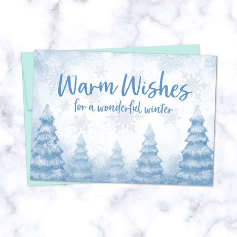 Warm Wishes Holiday Greeting Card with Whimsical Snowy Winter Forest Illustration - Light Blue Envelope Included